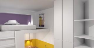 Cr ation et conception lit mezzanine fonctionnel petits espace appartement st - Mezzanine pour studio ...