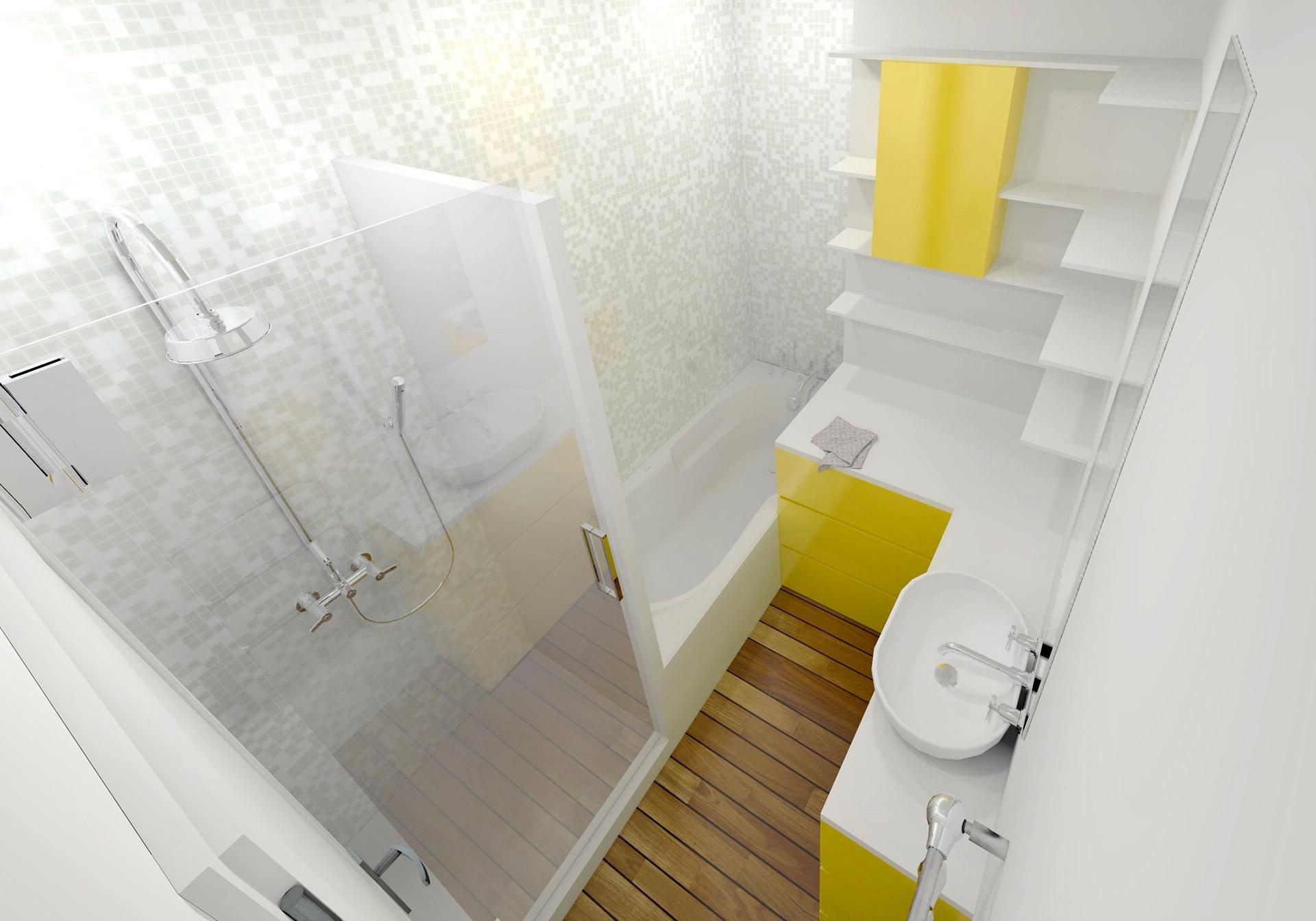 Appartement Haussmanien 16eme douche mosaique salle de bain Agence Avous