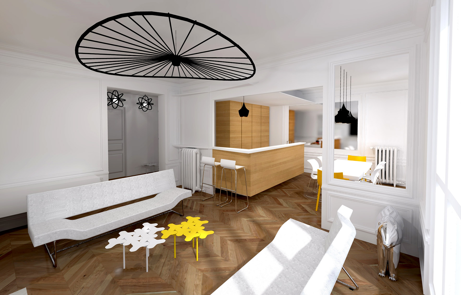 Cuisine moderne ouverte sur salon for Decoration appartement haussmannien