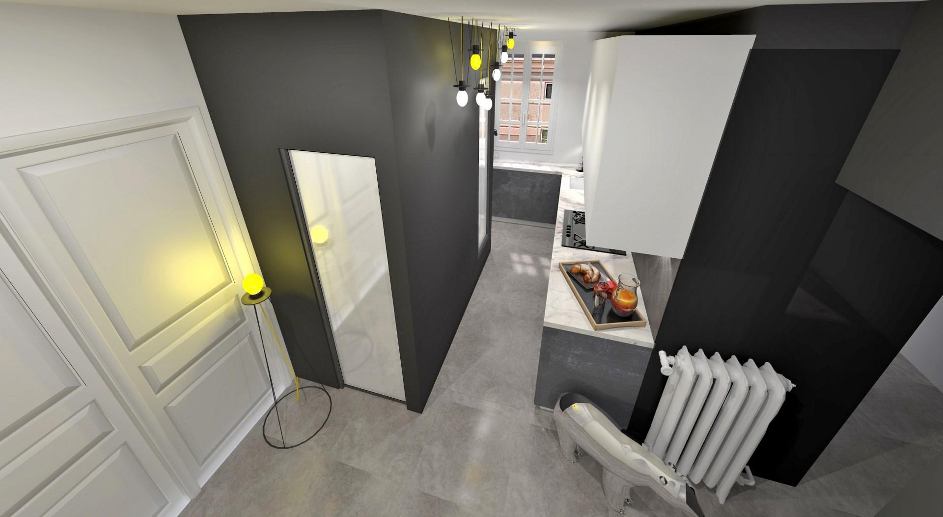 optimisation cuisine salle de bain noir blanc monochrome agence avous