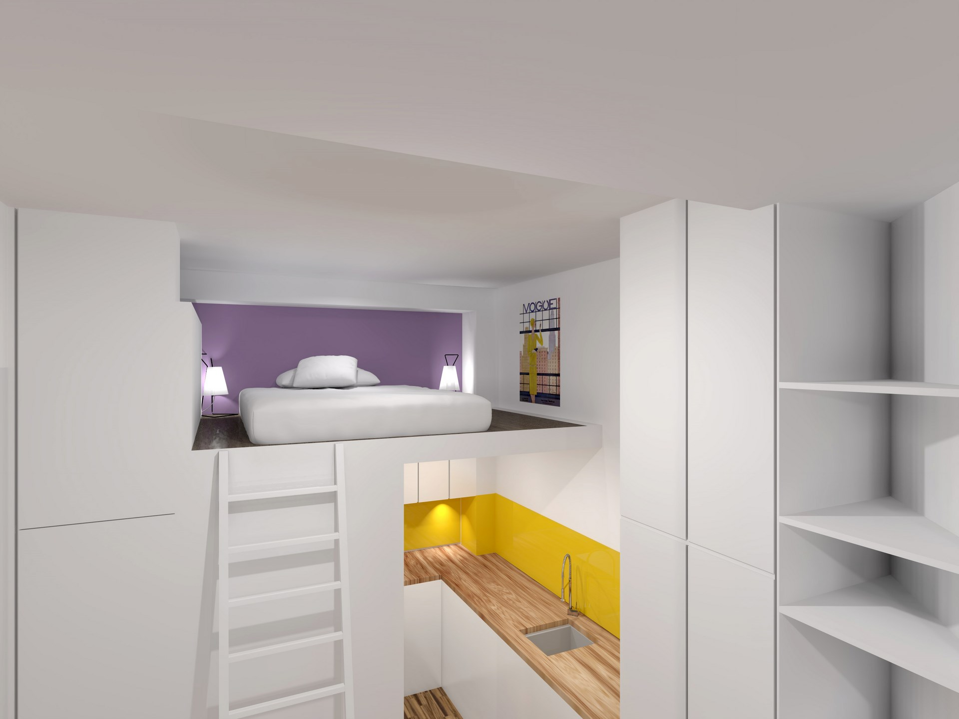 Ancienne loge de gardien transform e en studio mezzanine paris 11 me - Cuisine amenagement ...