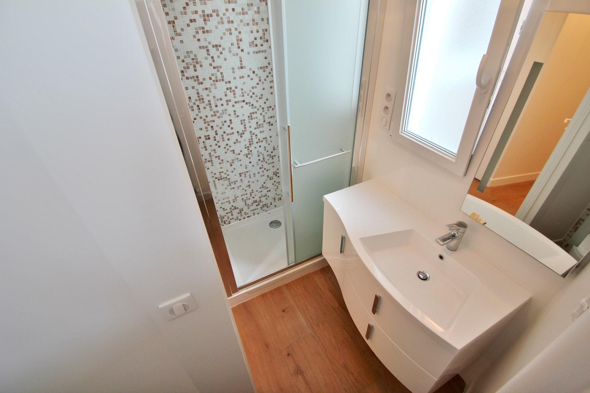 appartement familiale cabine de douche mosaique aqua color agence avous