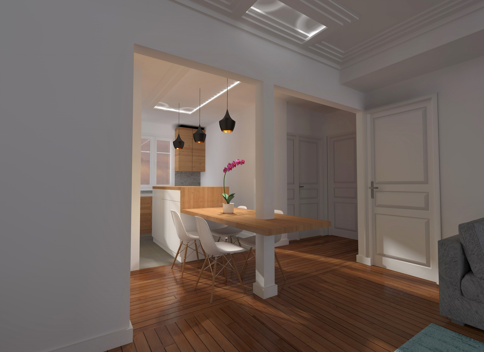 R novation art d co appartement parisien boulevards des for Ouvrir une cuisine sur un salon