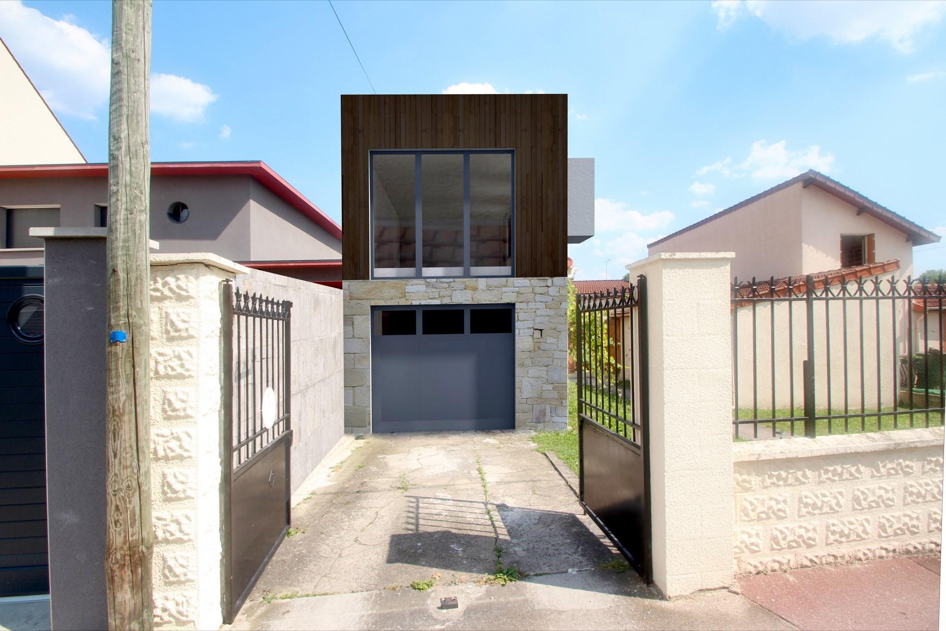 Extension architecture cubique bureau cr sur un garage for Agence bois exterieur