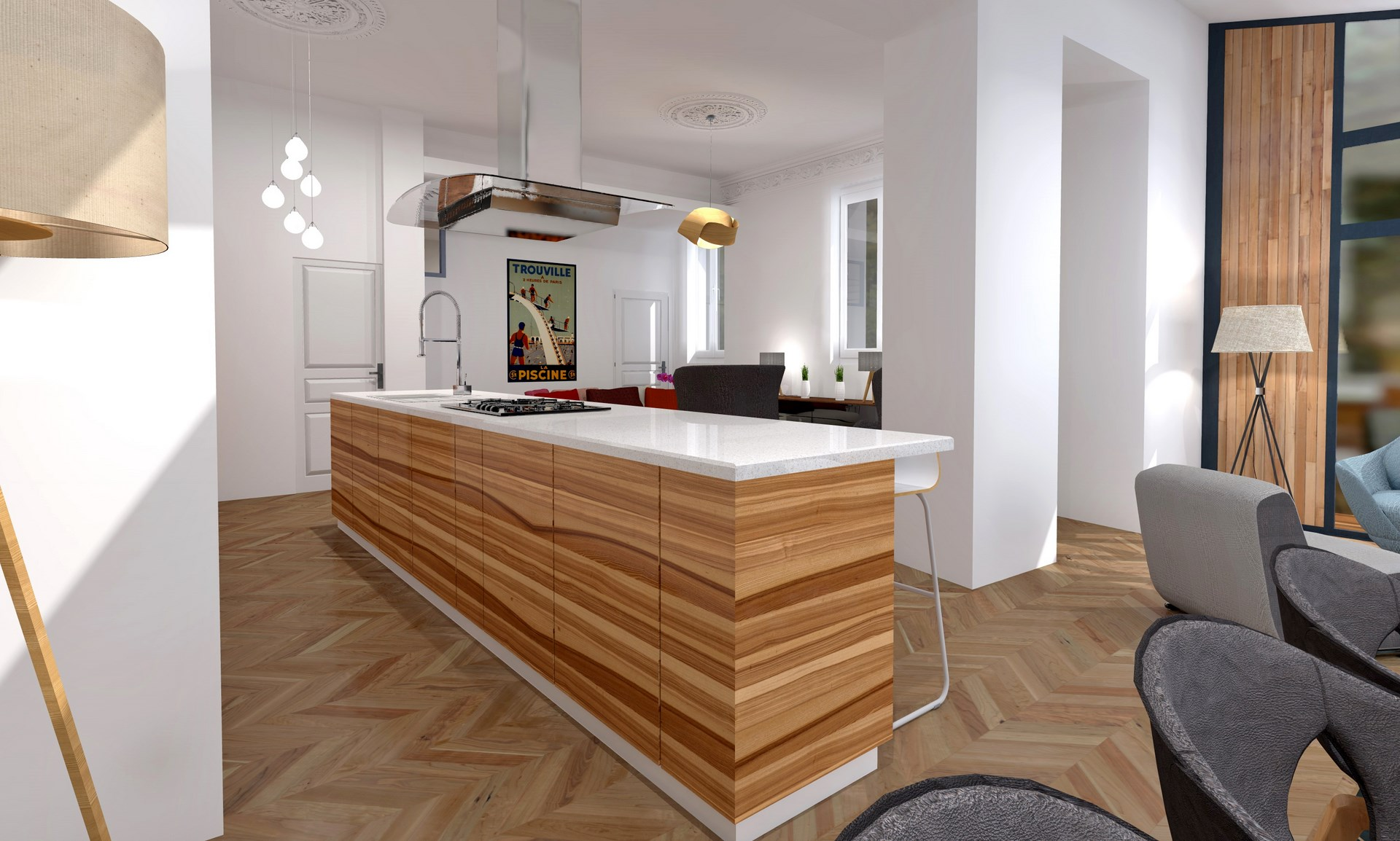 R organisation contemporaine maison tage parental et piscine for Cuisine ouverte ilot central