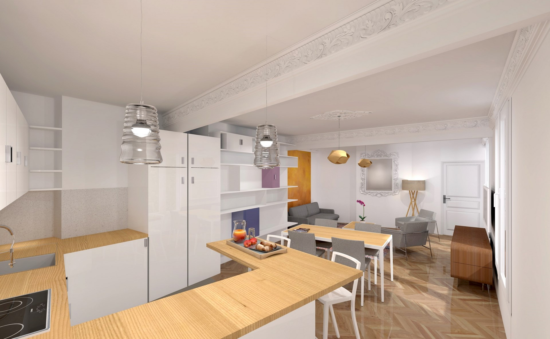 R novation s jour cuisine appartement haussmannien architecte for Cuisine design appartement haussmannien