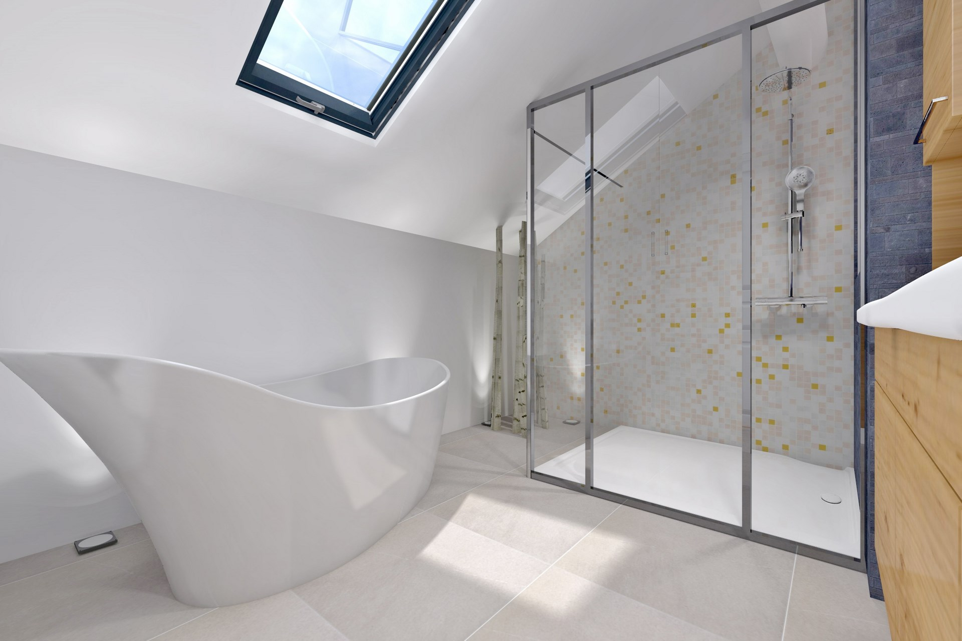 R organisation contemporaine maison tage parental et piscine for Salle de bain 2014