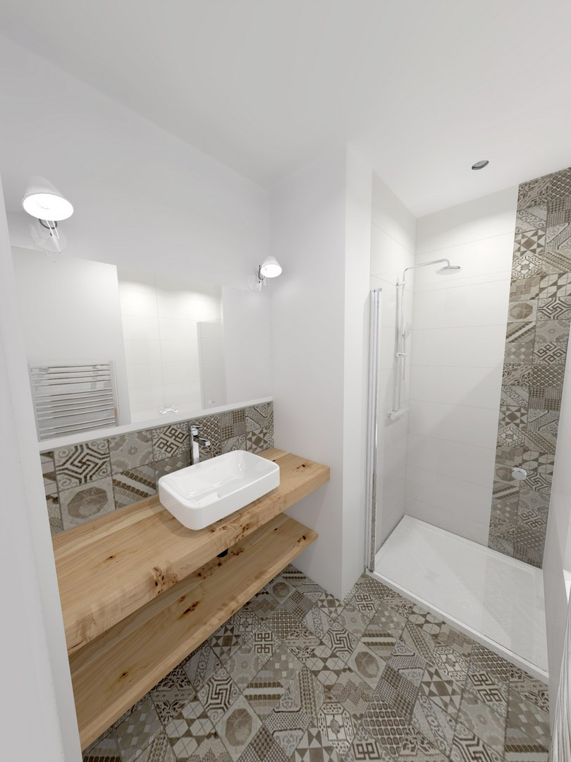 Souplex p re lachaise transformation commerce en appartement architecte paris - Salle de bain carreaux de ciment ...