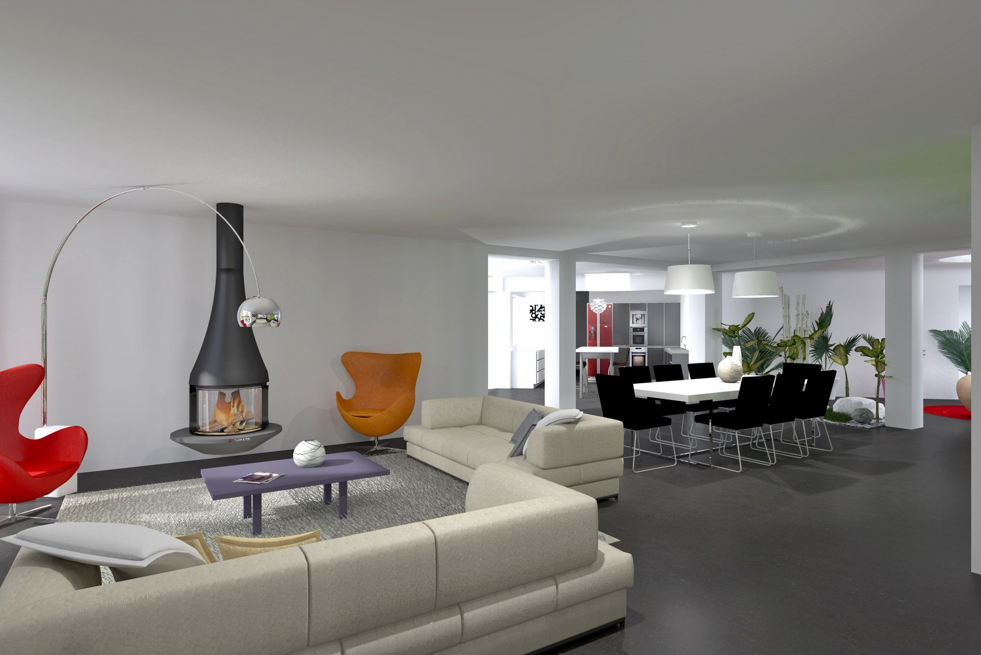 Extension contemporaine vignoble champenois architecte Amenagement salon cuisine ouverte 35m2