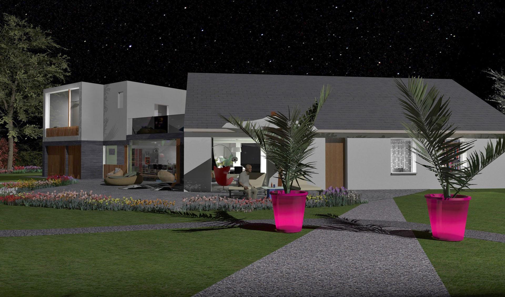 extension contemporain maison existant nuit agence avous