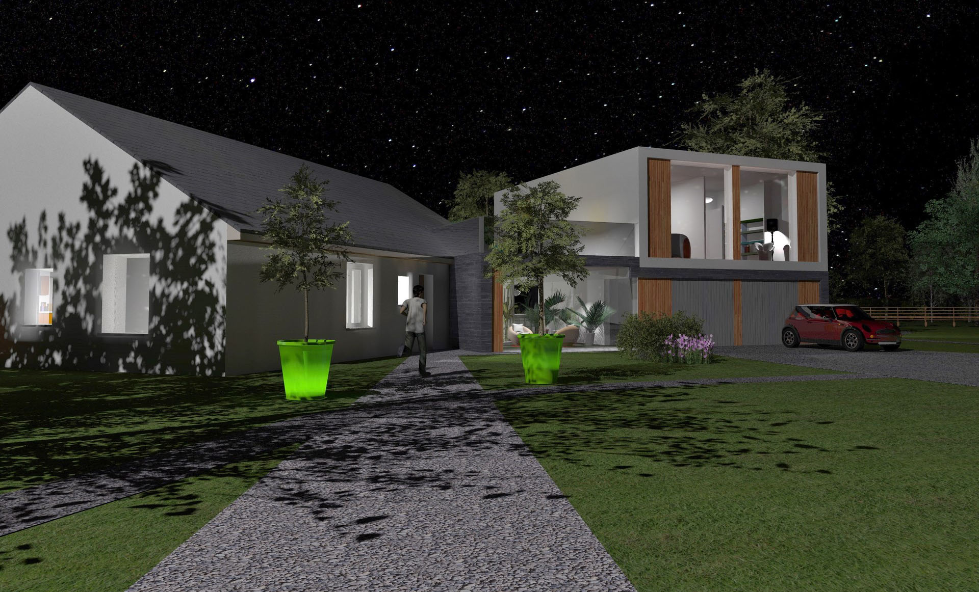 extension maison villa contemporaine nuit agence avous