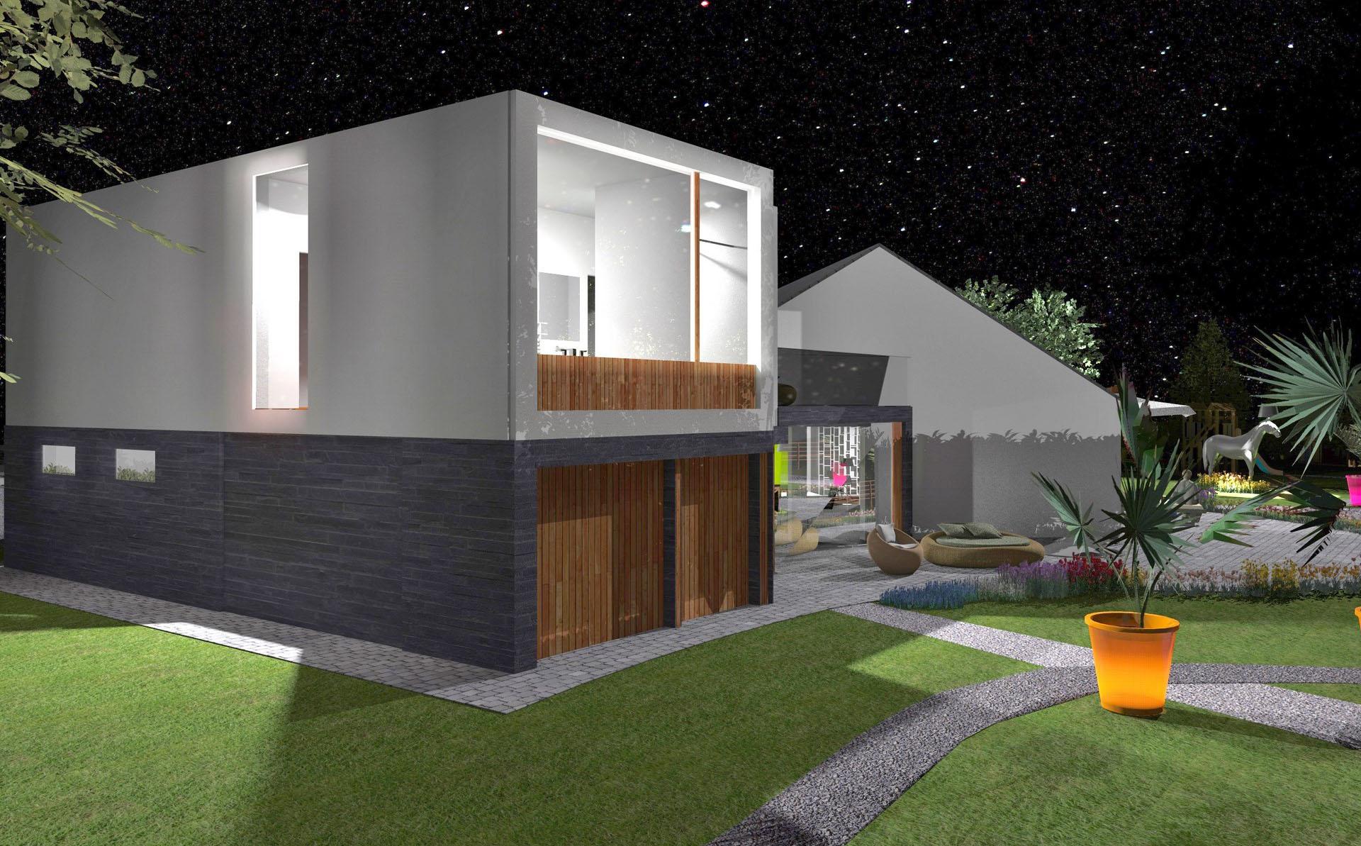 extension toiture terrasse parement pierre prestige bardage bois nuit agence avous