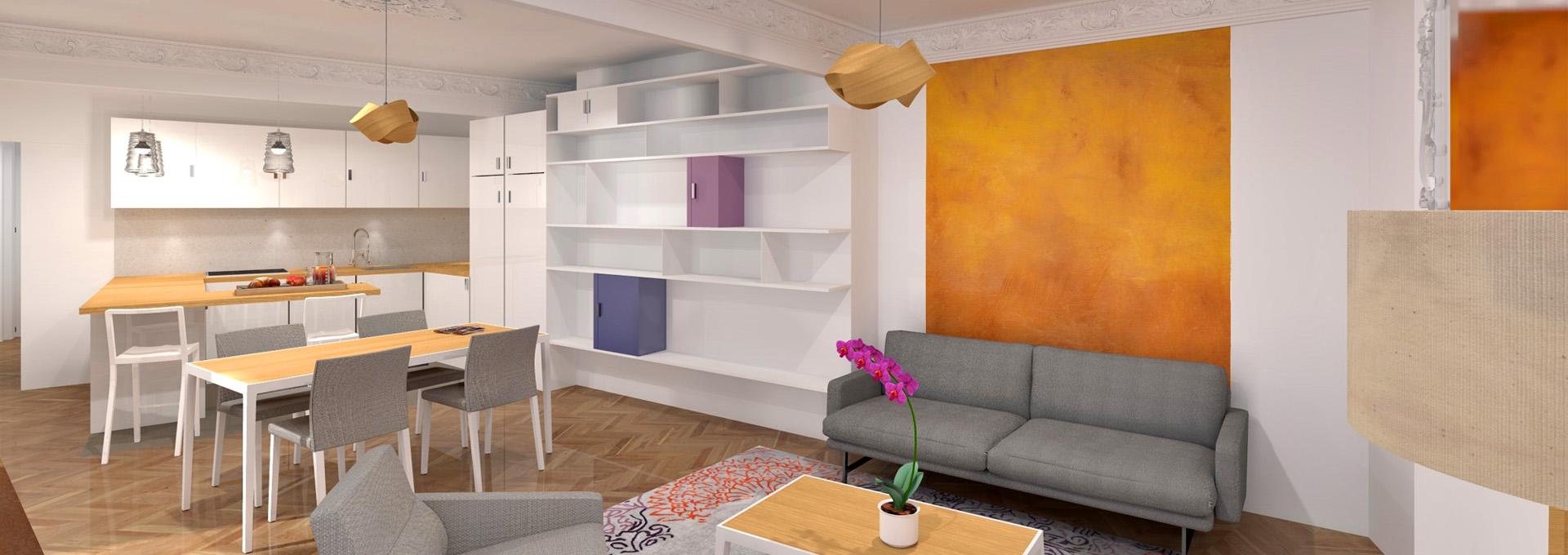 Rénovation séjour cuisine appartement haussmannien architecte