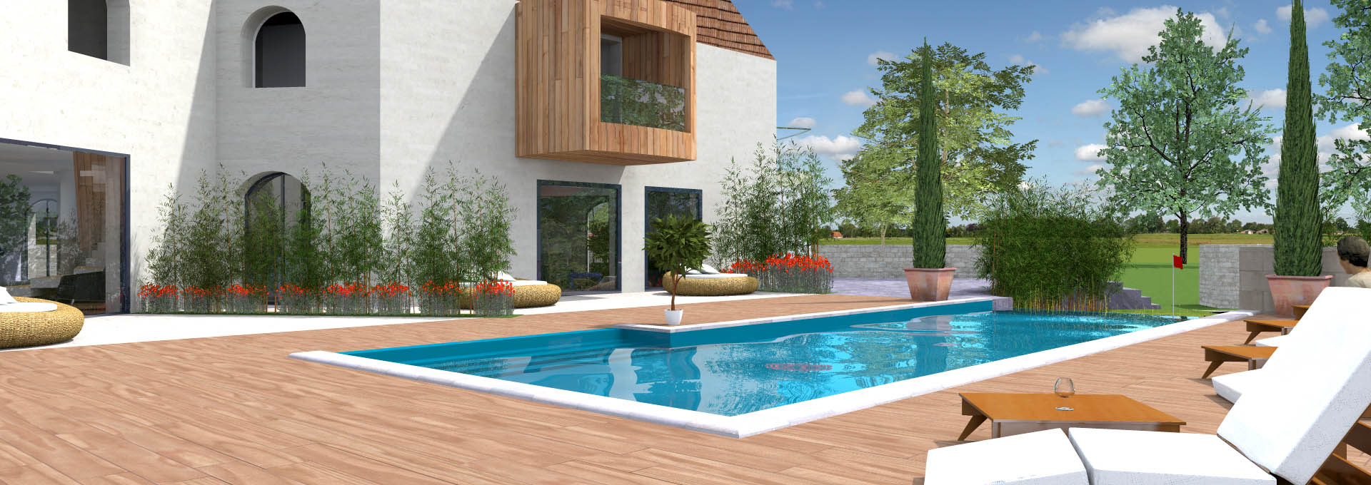 Amenagement piscine extrieure fabulous amnagement galets for Amenagement piscine terrasse