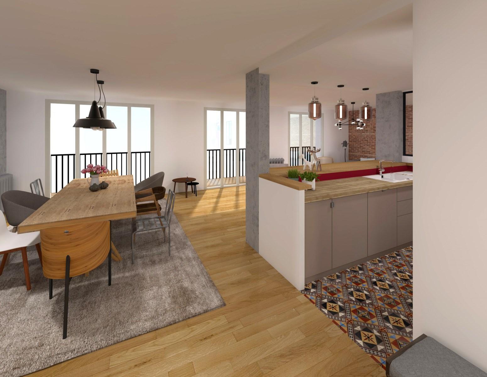 r novation loft avec carreaux ciment chin brique ancienne. Black Bedroom Furniture Sets. Home Design Ideas