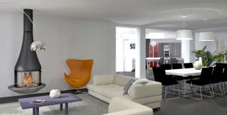 amenagement interieur salon salle a manger moderne grand volume agence avous