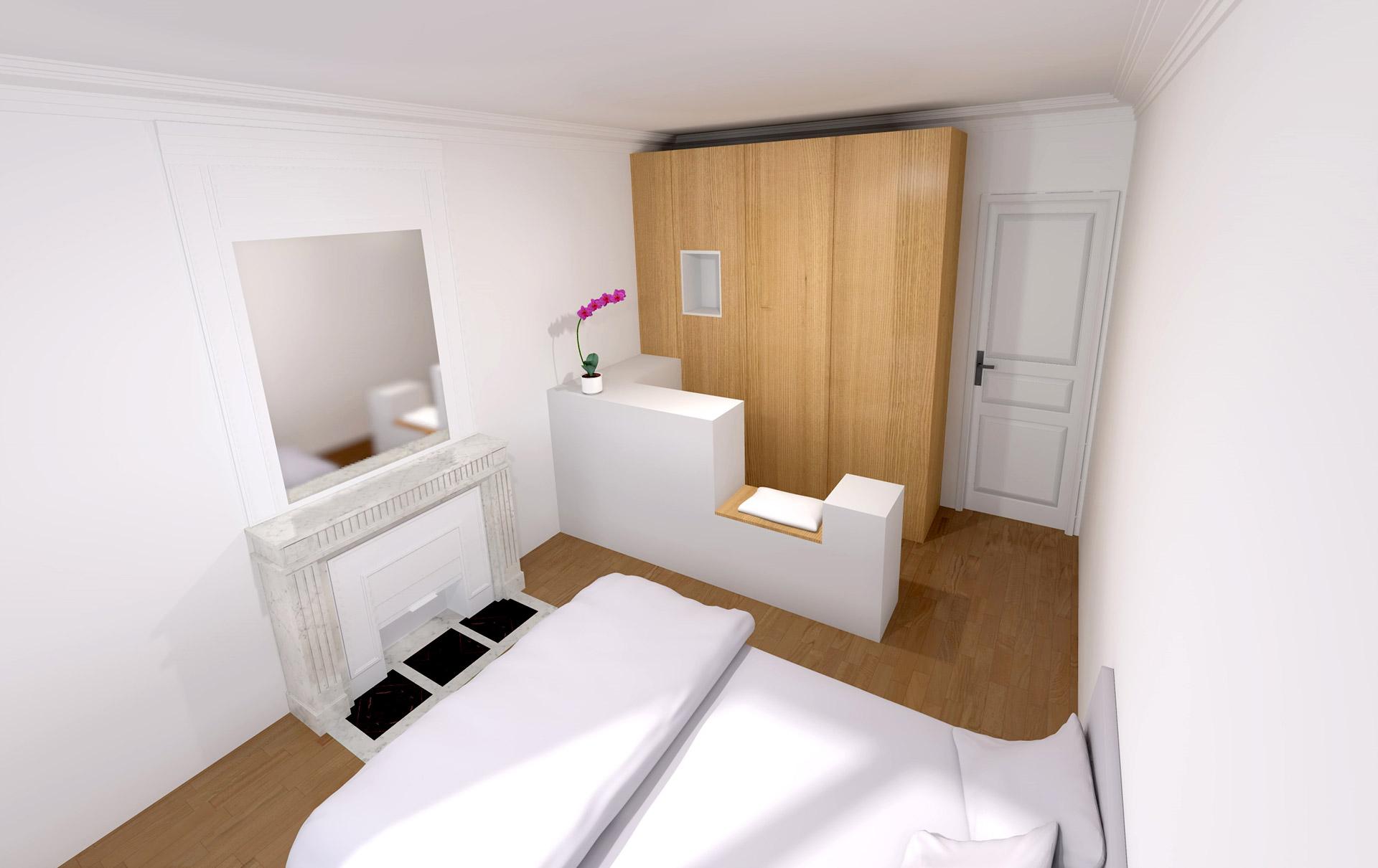 appartement haussmanien 16eme chambre dressing sur mesure agence avous