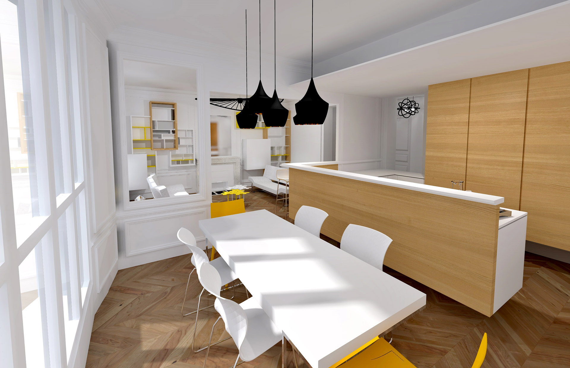 appartement haussmanien 16eme cuisine bar agence avous