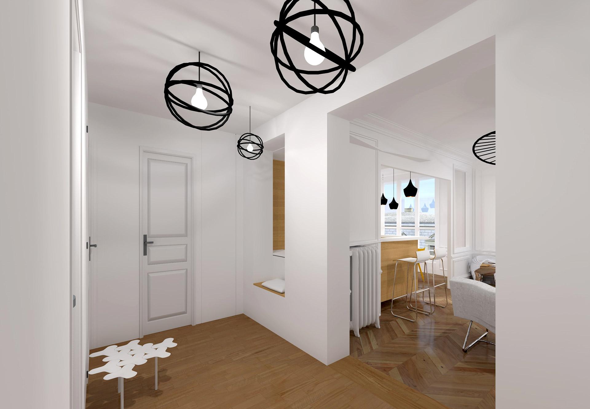 appartement haussmanien 16eme entree moulure moderne agence avous