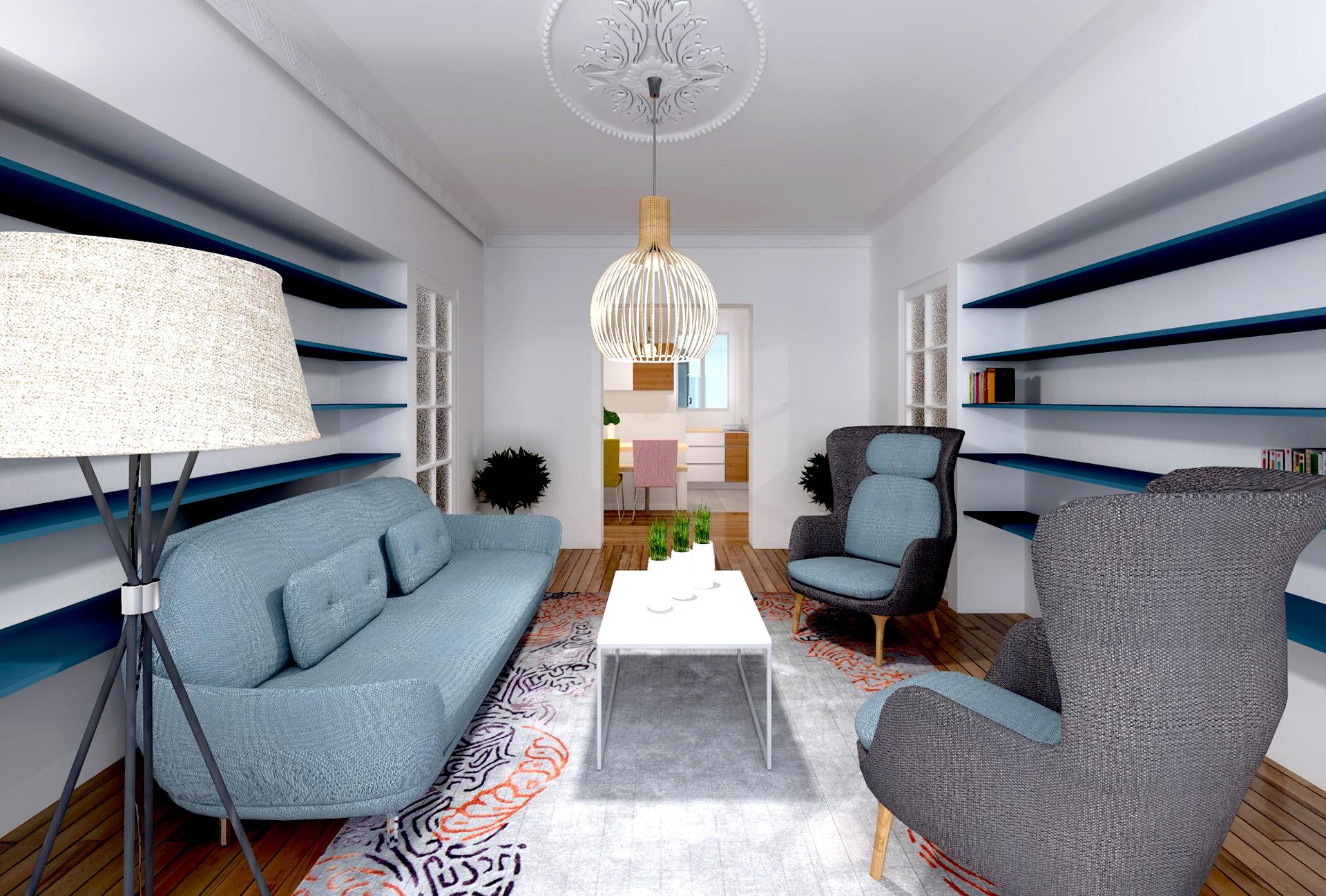 appartement art deco amenagement salon ambiance annee 50 agence avous