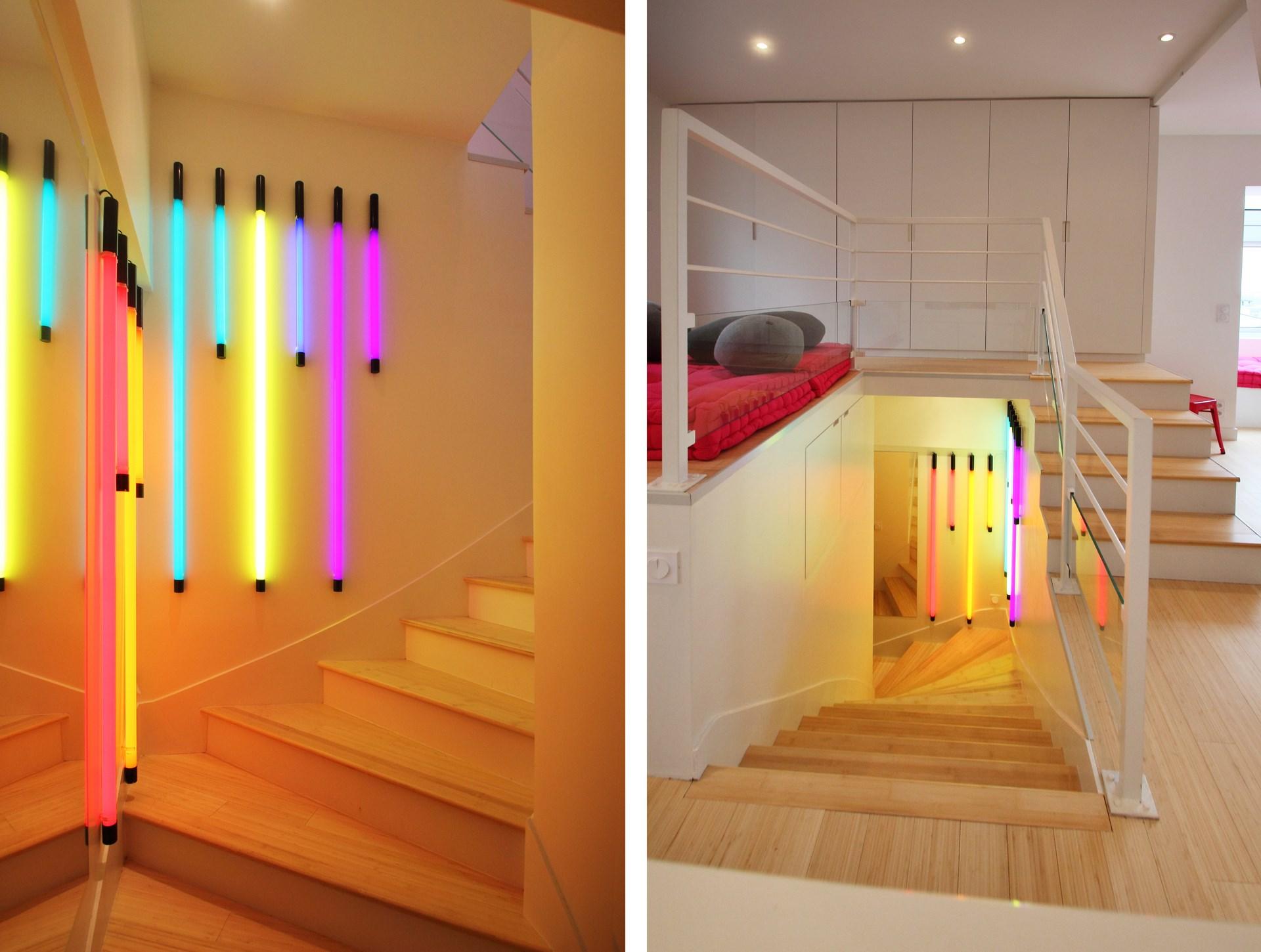 appartement bambou tubes neon escalier entree agence avous