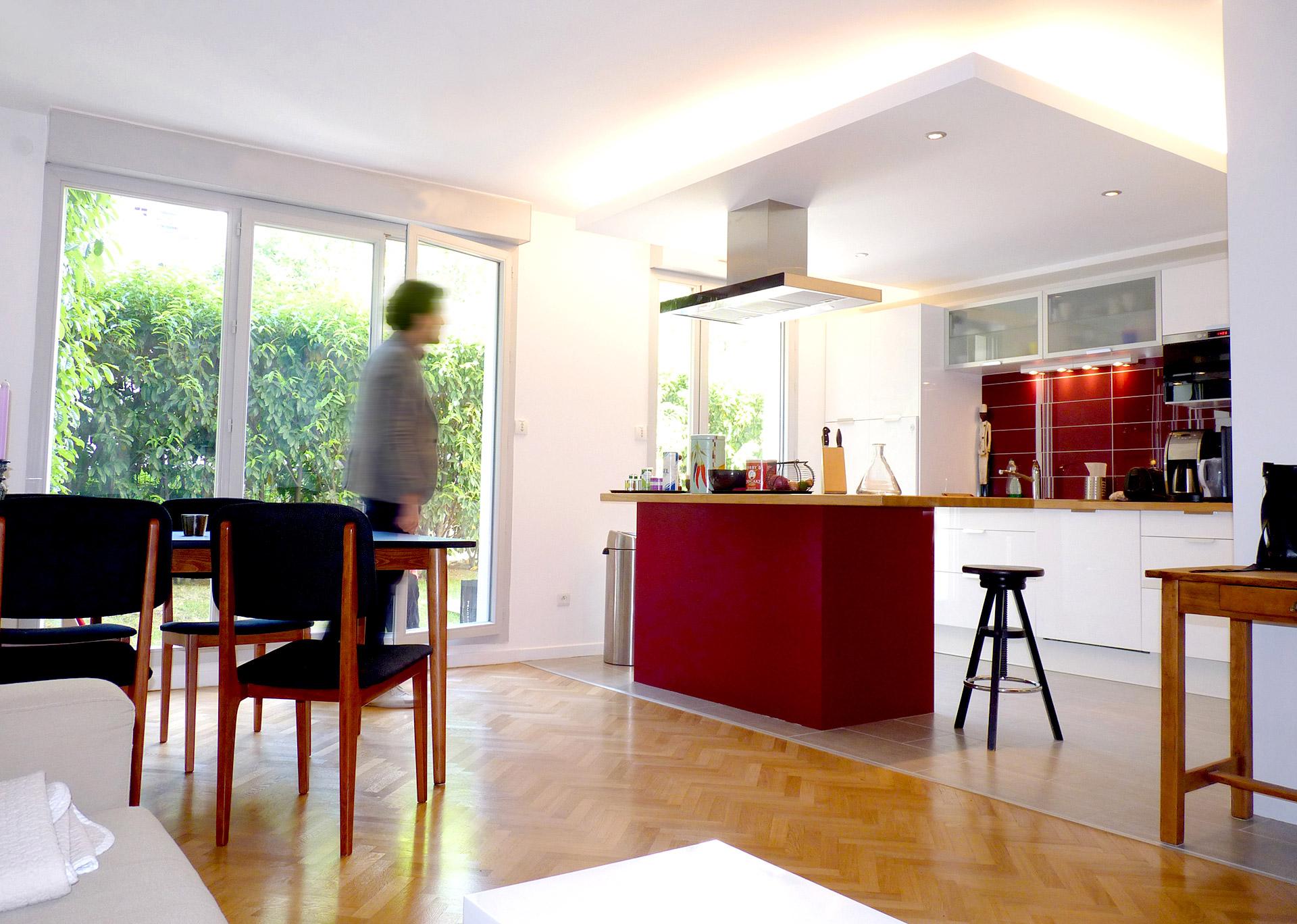 cuisine ouverte jardin eclairage led agence avous
