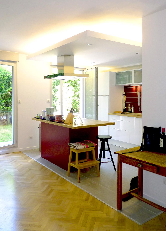 cuisine ouverte jardin parquet carrelage agence avous