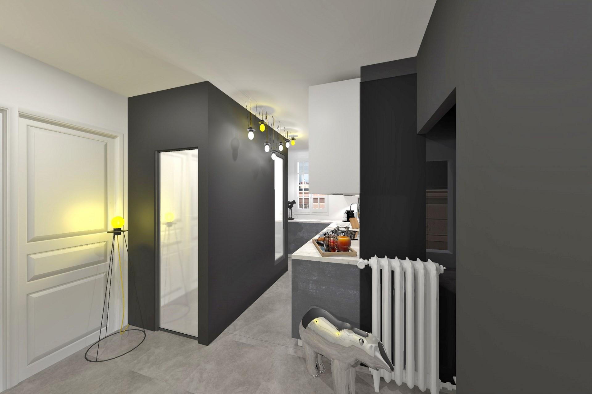 optimisation cuisine salle de bain noir blanc monochrome design agence avous