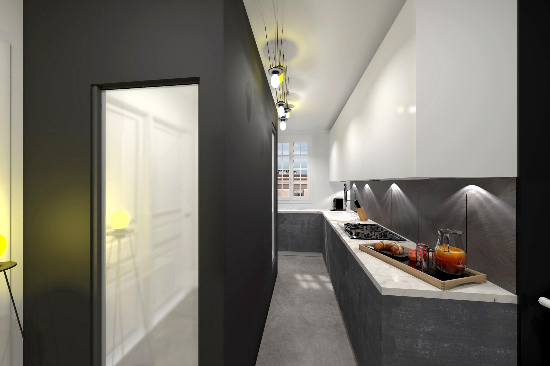 optimisation cuisine salle de bain noir blanc monochrome quartz agence avous