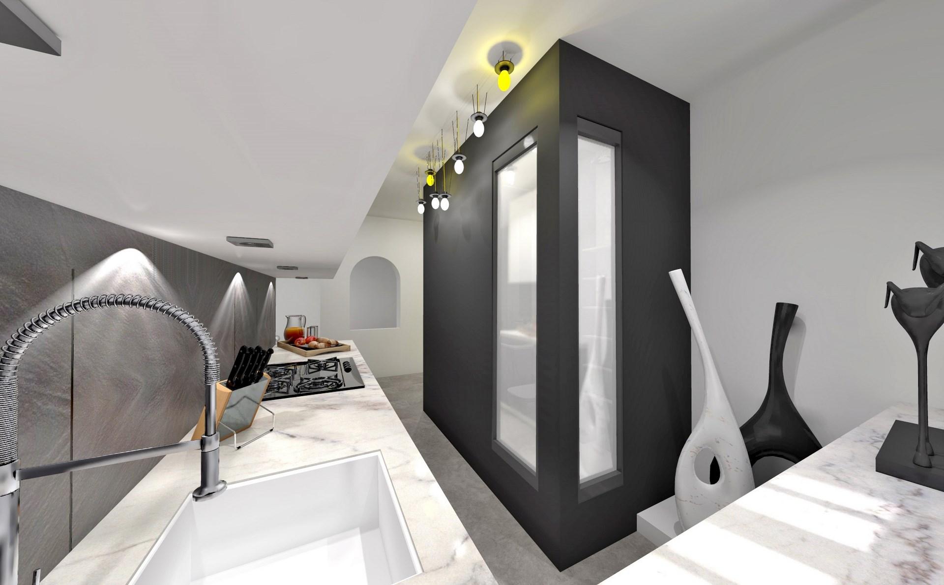 optimisation cuisine salle de bain noir blanc monochrome verriere agence avous