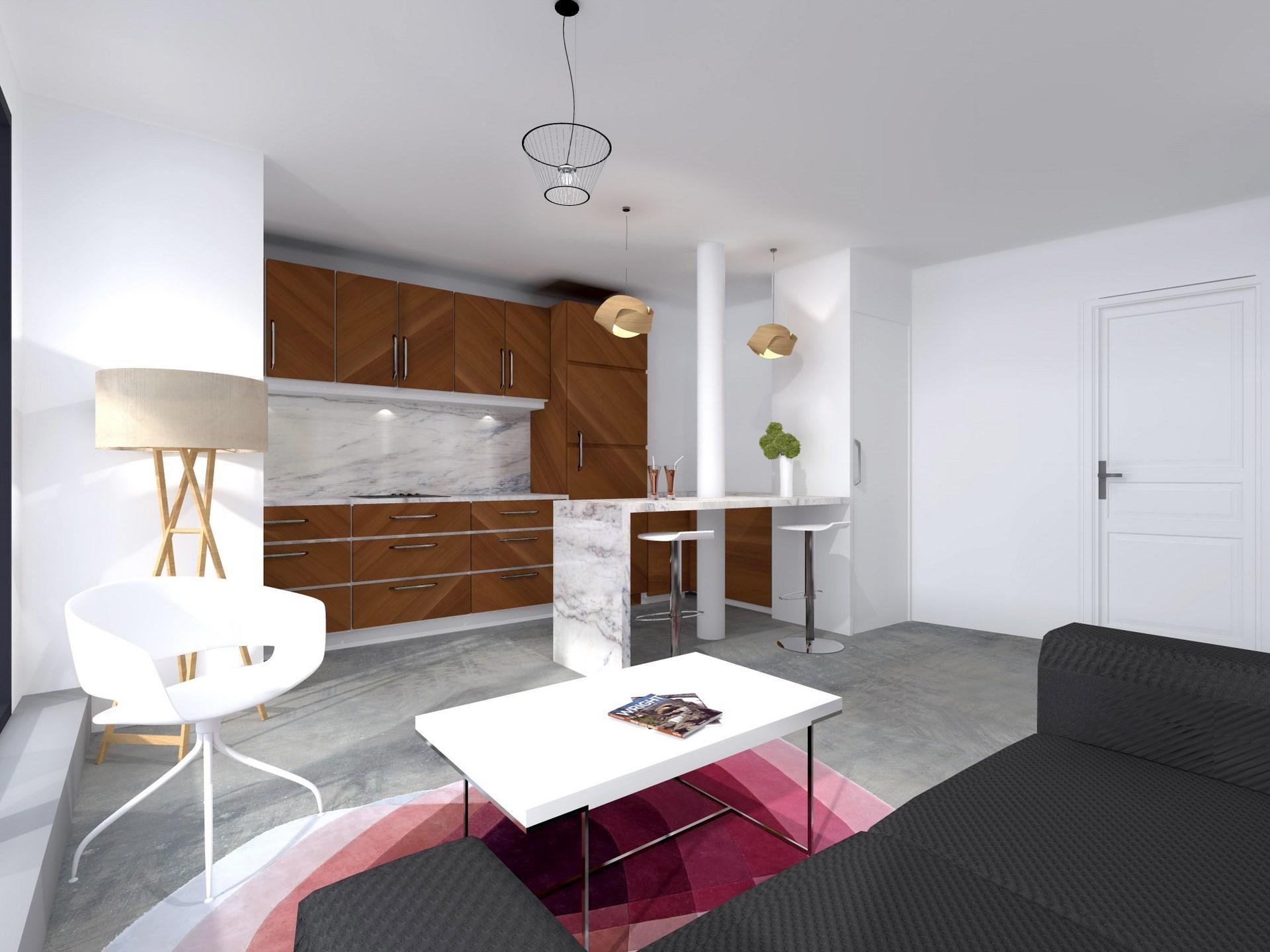 architecte interieur paris marbre bois cuisine ouverte agence avous