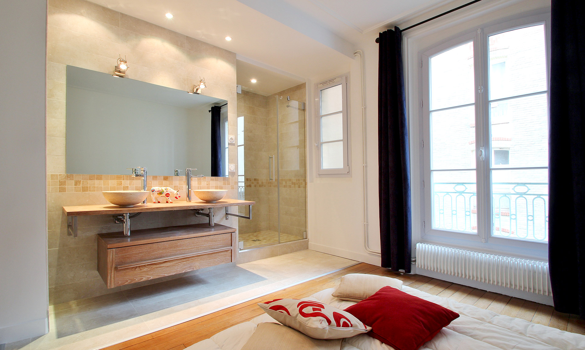 salle de bain ouverte sur chambre vasque agence avous