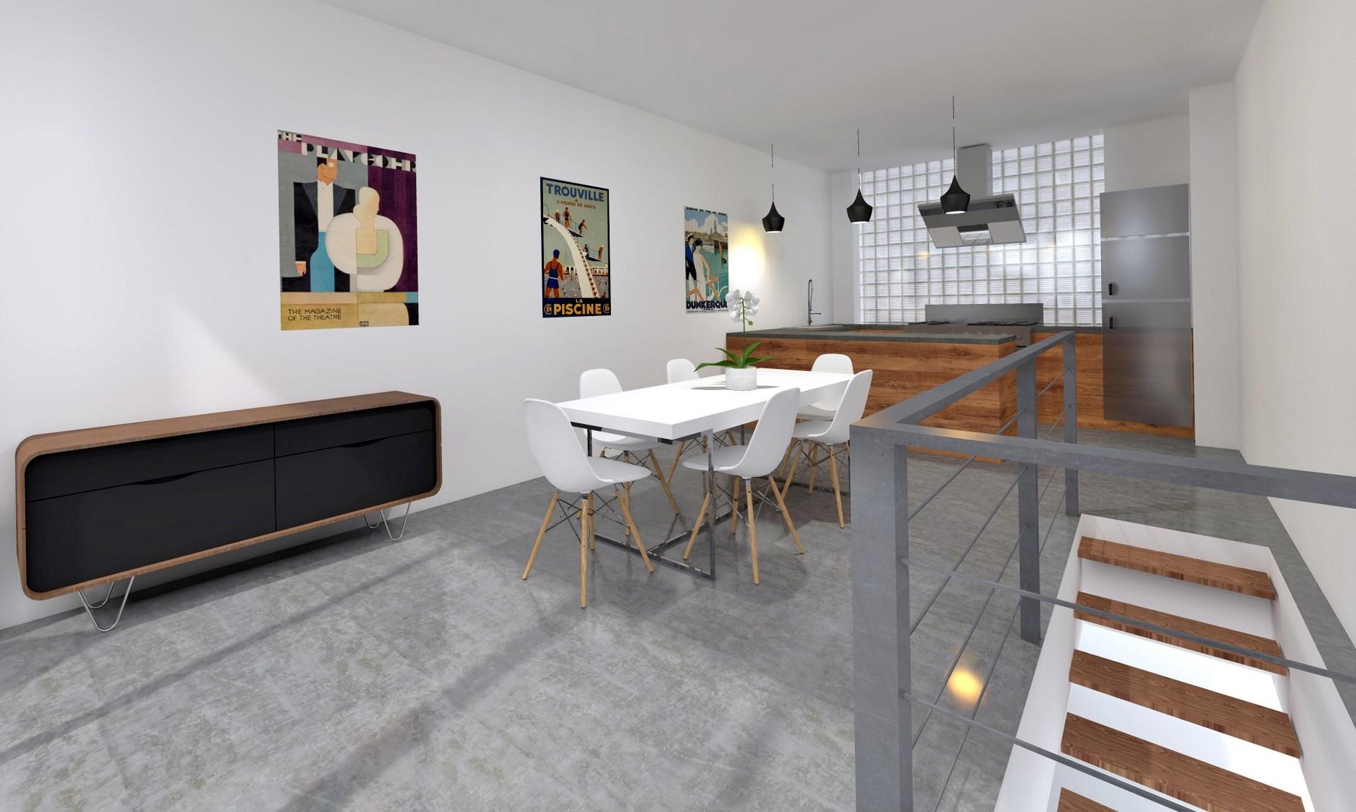 cuisine contemporaine ouverte beton cire triplex agence avous