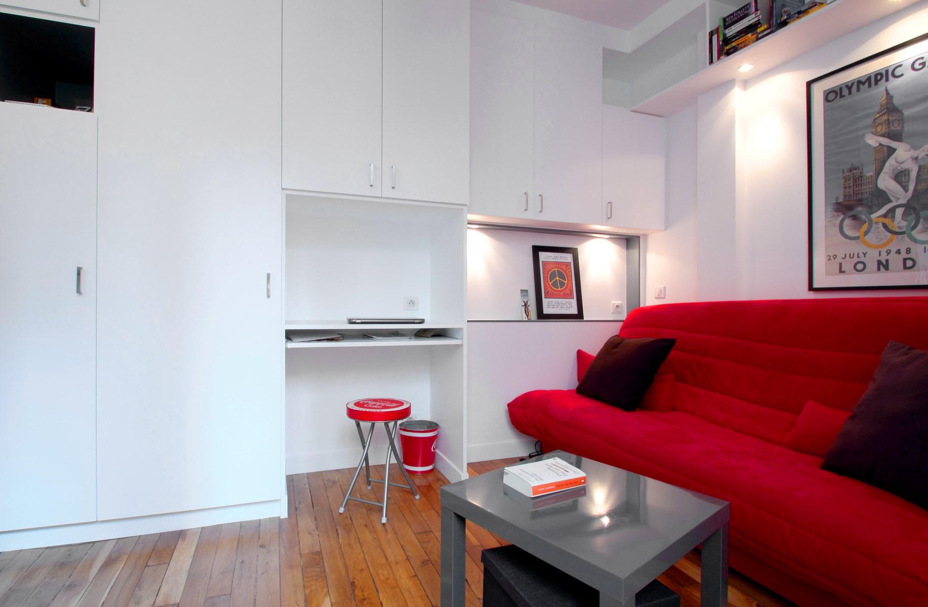studio meuble sur mesure dressing bureau canape rouge agence avous