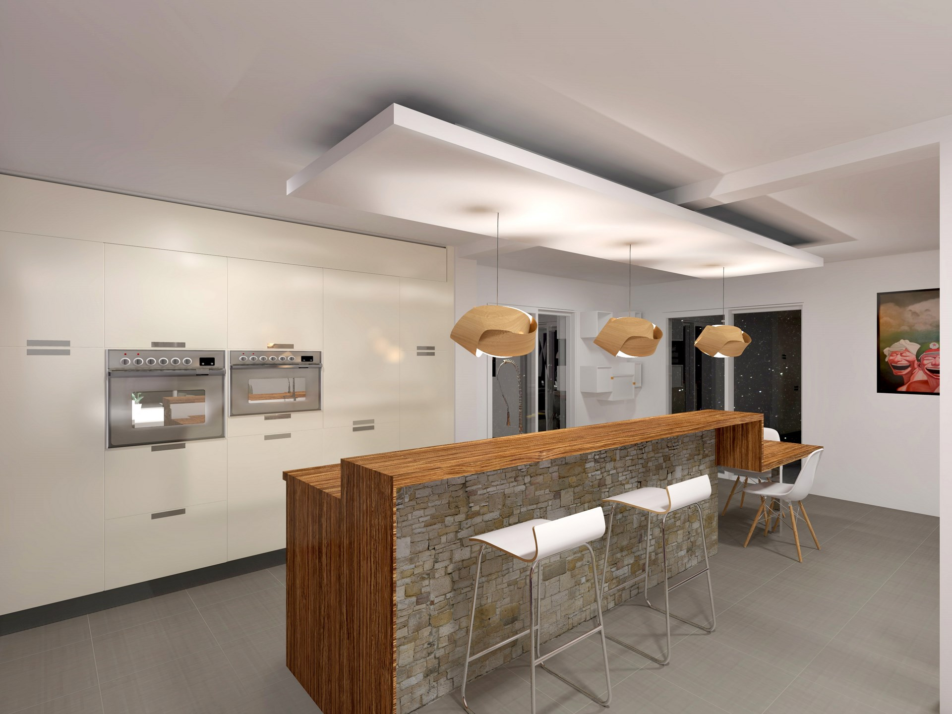 cuisine moderne bar faux plafond agence avous