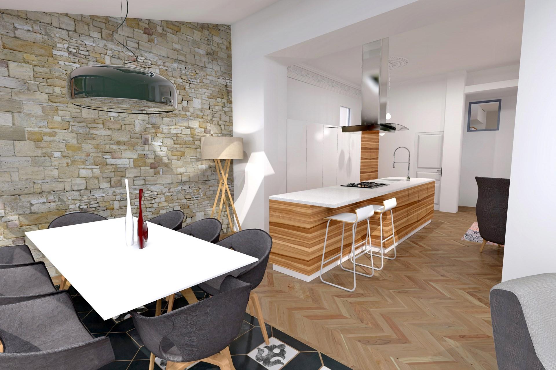 cuisine ouverte mur en pierre agence avous