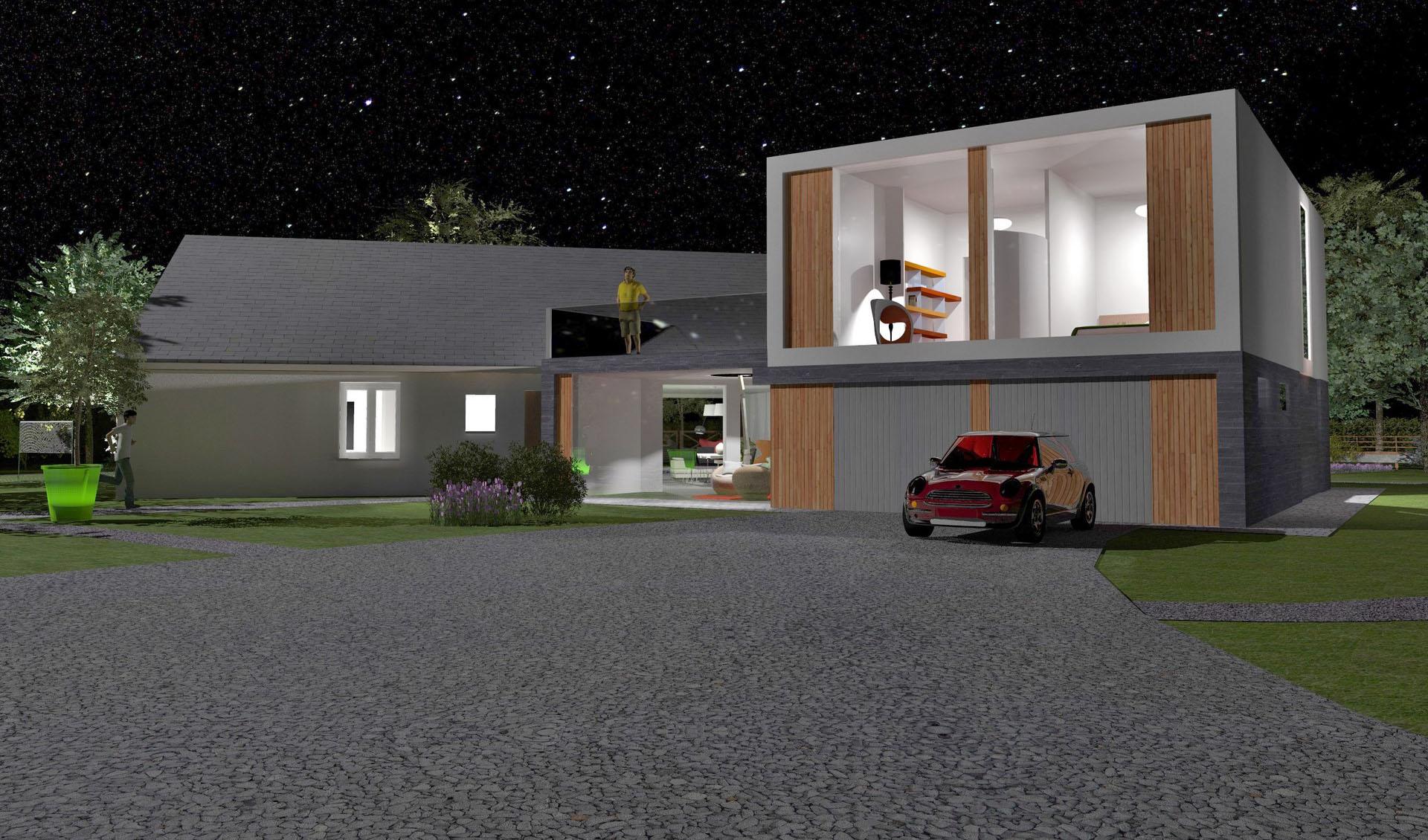 extension contemporain parement pierre bardage bois nuit agence avous