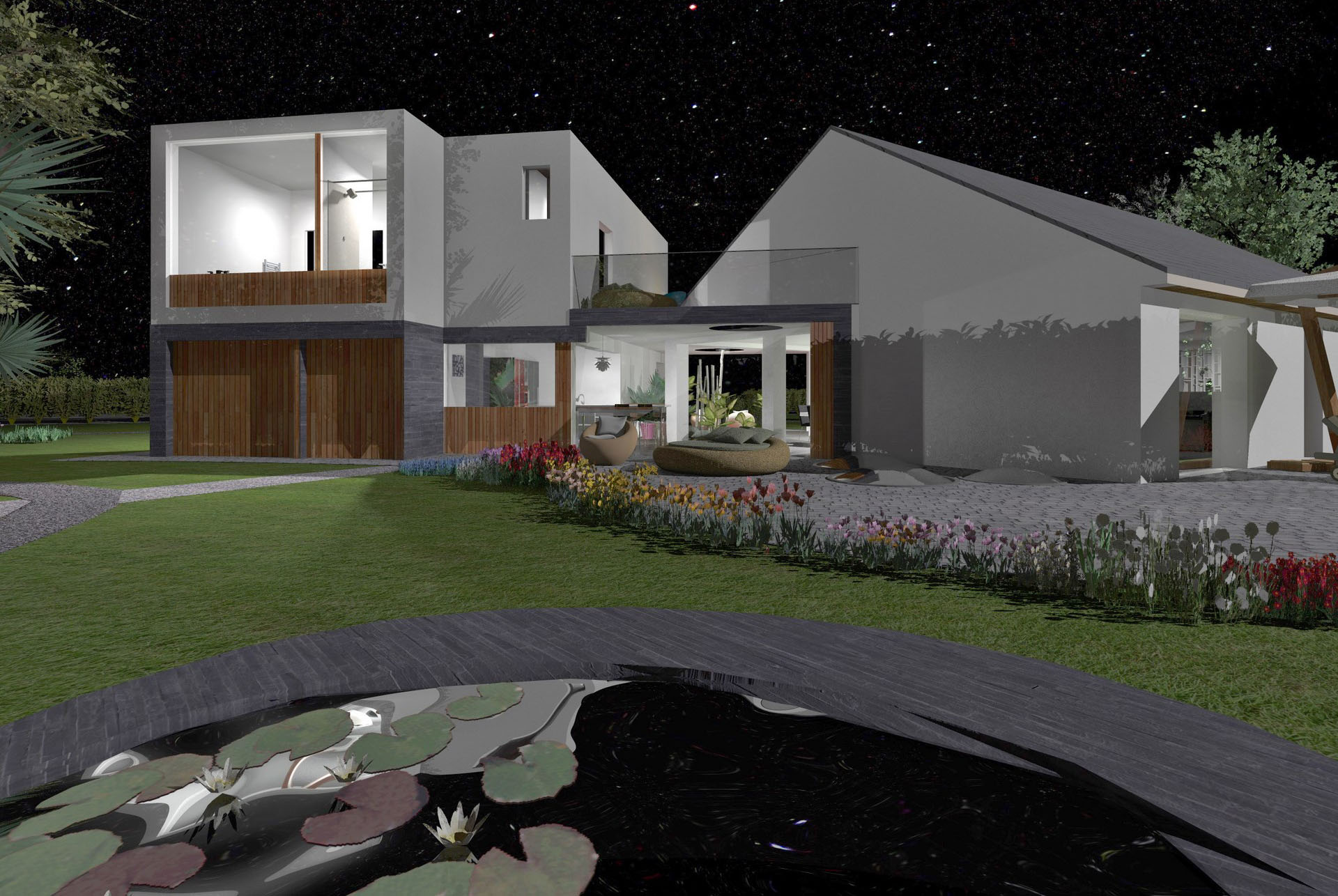 extension contemporain toiture terrasse bardage bois nuit agence avous