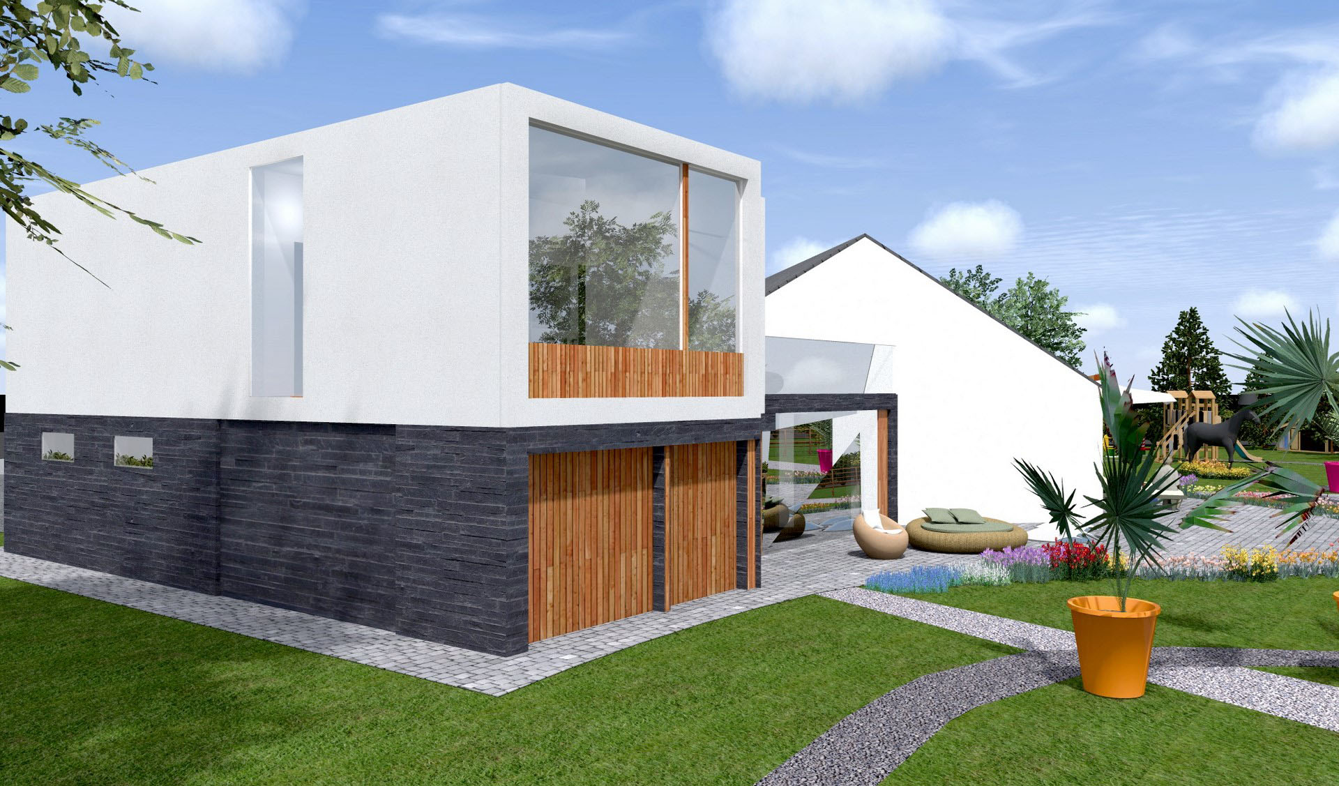 extension toiture terrasse parement pierre prestige bardage bois agence avous