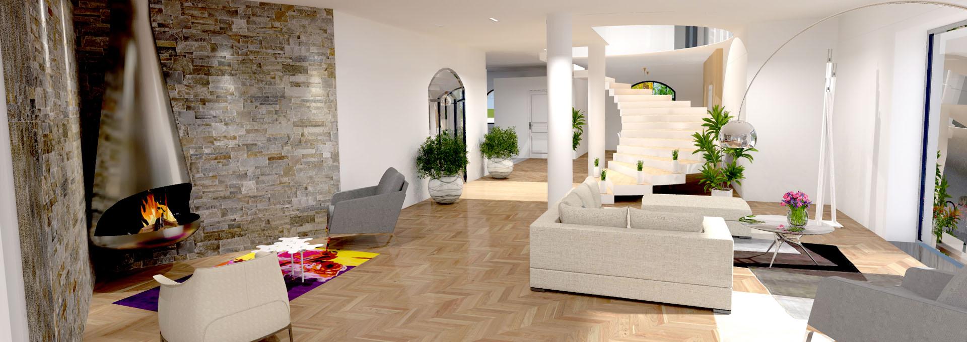 grand salon luxe parement pierre cheminee suspendu agence avous