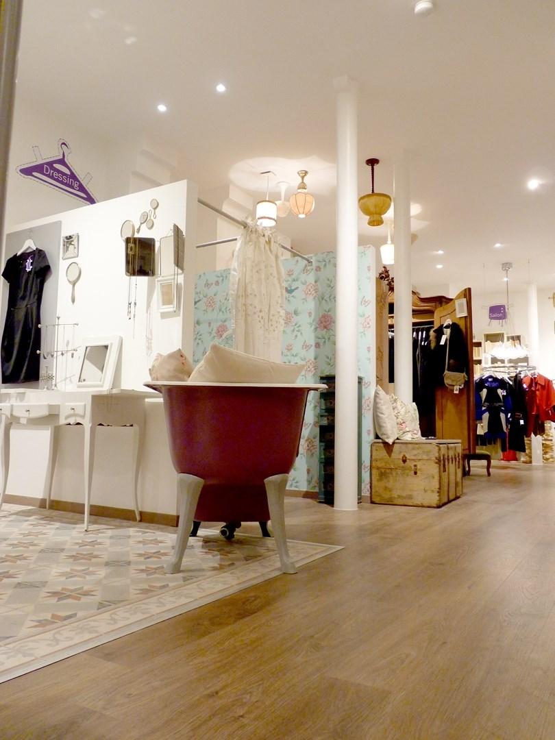 architecte concept boutique vintage vetement baignoire coupee parquet carreaux de ciment agence avous