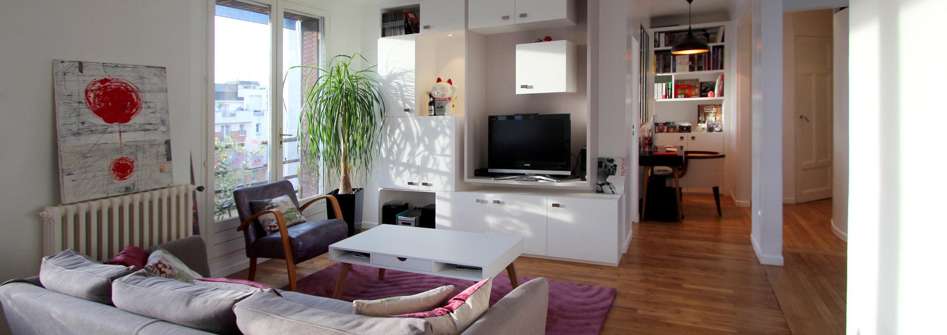Cube chambre dans un salon avec meuble TV bibliothèque Agence Avous
