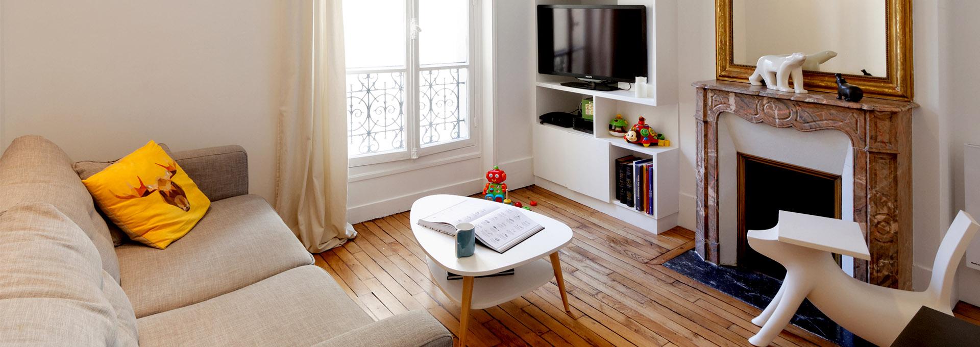 Agence Avous Appartement Batignolles parquet renove cheminee